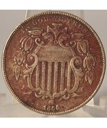 1866 Shield Nickel Typ 1 With Rays EF Details #0156 - $74.99