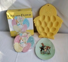 Easter Dish Egg Tray Plate Lot Plastic Ceramic Fitz And Floyd World Market  - $236,37 MXN