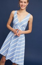 NWT $158 Anthropologie by Tracy Reese Striped Poplin Dress SZ 12 Blue/Sky - $77.22