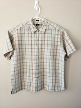 Dockers Men's XL Short Sleeve Button Up Plaid Neutral Colors  EUC - $8.42