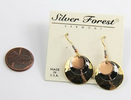 ESTATE VINTAGE Jewelry NOS ON CARD SILVER FOREST VT MIXED METAL DISC EAR... - $8.00