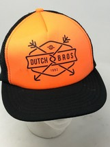 Dutch Bros Coffee Mesh Trucker Hat Cap Adjustable Snapback Orange Brothe... - $24.70