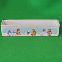 "1988 House Of Lloyd White Teddy Bear Ceramic Rectangular ""Quacker"" Dish - $3.95"