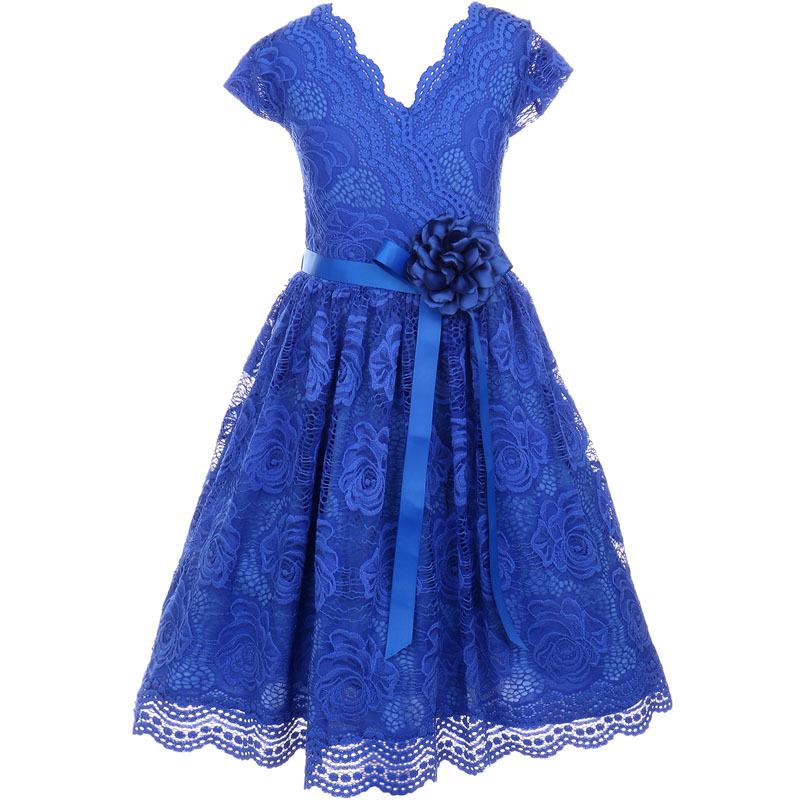 Coral Cap Sleeve V Neck Floral Lace with Corsage Flower Belt Girl Dress