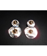Vintage Silver Plated Hammered Double Circle Dangle Earrings Southwester... - $13.20