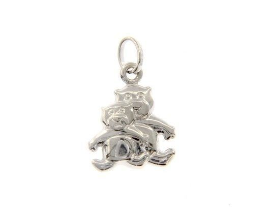 18K WHITE GOLD MOTHER & SON BEAR TEDDY BEAR PENDANT CHARM 22 MM MADE IN ITALY