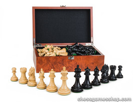 Luxury wooden CHESS pieces New York BLACK - weighted,felted-EXTRA queens-in BOX - $92.22