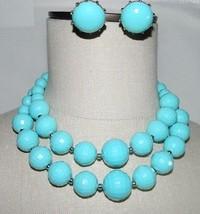 VTG CORO Blue Faceted Plastic Bead Silver Tone Demi Parure Set Earrings ... - $59.40
