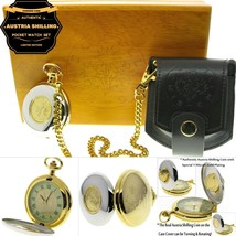 AUSTRIA SHILLING Authentic Coin Pocket Watch Set Gift Leather Pouch Wood... - $159.99