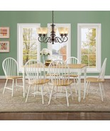 White 7PCS Solid Wooden Dinette Table Set Dining Chairs Country Farm Hou... - $466.58
