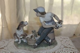 Lladro Figurine 5376 HE'S MINE Boy Mama Dog Basket Puppies Retired Mint - $175.50