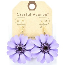 "Crystal Avenue Lilac Purple Spring Flower 2"" Drop Dangle Hook Metal Earrings"