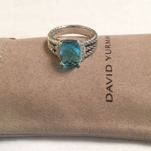 David Yurman Petite Wheaton Ring With Blue Topaz And Diamonds 10x8mm Size 7 - $296.01