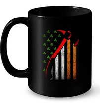 Firefighter Irish American Flag St Patricks Day Ceramic Mug - $13.99+