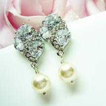 Flower Swarovski Pearl Earrings - Bridal Jewelry - $41.00
