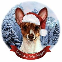 Holiday Pet Gifts Toy Fox Terrier Chocolate Tri Santa Hat Dog Porcelain ... - $18.34