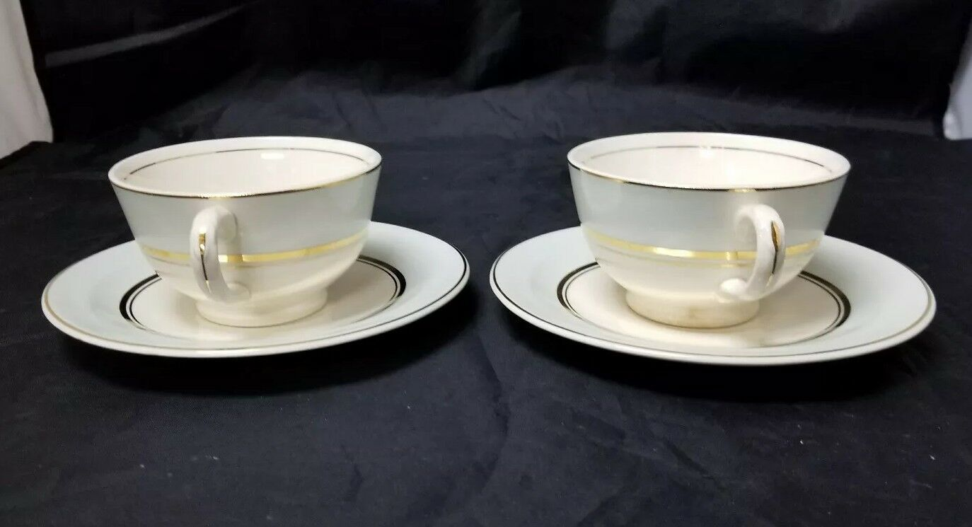 The French Saxon China Co Tea Cup & Saucer Set of 2, 22kt Gold, Pottery Made USA image 9