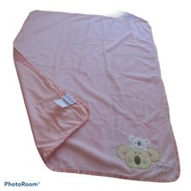 CoCaLo Pink Puppy Dog Bear Baby Blanket Hard to find Rare Stripes Edge L... - $24.74