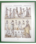 COSTUME of French Women 18-19th Century - RACINET Tinted Litho Print - $9.45