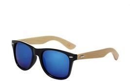 Shiratori Prevent Radiation Classic Bamboo Wood Sunglasses Blue - $20.18