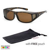 POLARIZED cover put over Sunglasses wear Rx glass fit driving LARGE Tort... - $8.99