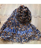 LOUIS VUITTON Stole Etole Scarf Shawl Leopard Animal Cashmere Silk Auth ... - $608.28