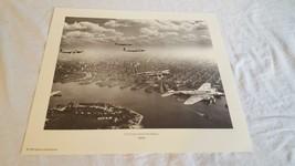 WW2 PRINT B-17S OVER NEW YORK HARBOR 12X14 1939 REPRINT 1993 - $4.94
