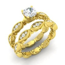 1Ct Round Simulated Diamond 14K Yellow Gold Fn Solid Bridal Wedding Ring Set  - $85.00