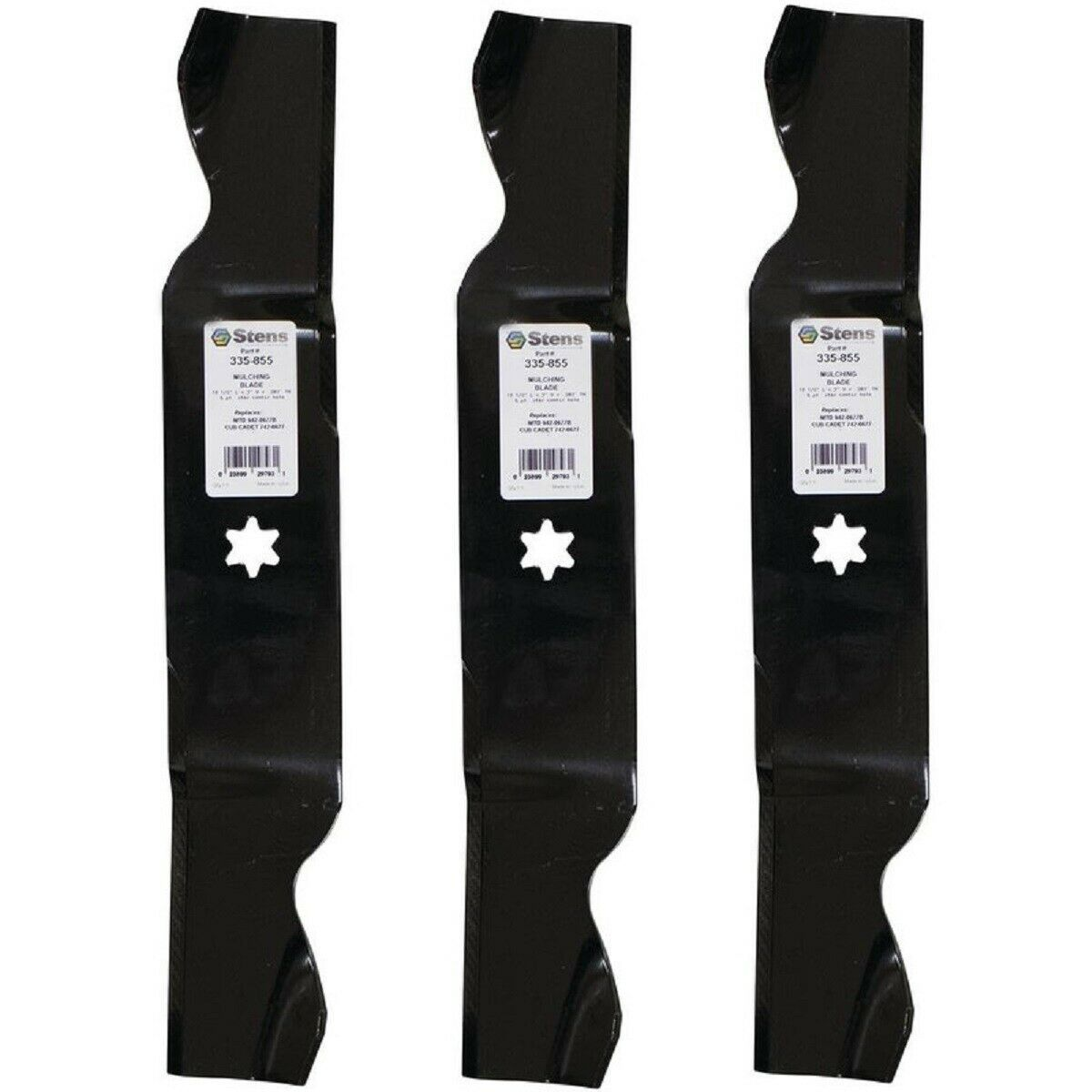 Primary image for 3 Pk Blades fit Cub Cadet 742-0677 742-0677A 742-0677B 942-0677 942-0677A