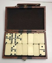 Vintage Board Game Dominoes Faux Leather Case Travel Set Complete - $16.82