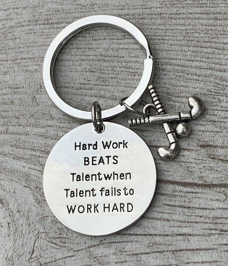 Primary image for SportyBella Field Hockey Hard Work Beats Talent Keychain