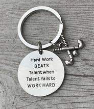 SportyBella Field Hockey Hard Work Beats Talent Keychain - $13.99
