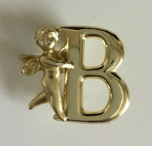 "Vintage L Razza Gold Tone Monogram Initial Letter B Angel Cupid Brooch Pin 1"" - $9.74"