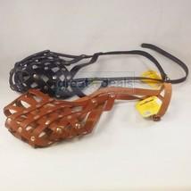 Verstellbar Leder Maulkorb Groß Hunderasse Anti-biss Schwarz oder Braun von - $28.34