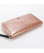 NWT KATE SPADE MAVIS STREET NEDA ROSE GOLD GLITTER SPARKLE ZIP AROUND WA... - $63.36