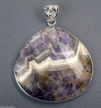 "75.00 CT Massive Genuine AMETHYST Sterling Silver Pendant 1.5"" - $24.11"