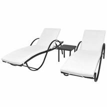 vidaXL Sunloungers w/ Table 5 Piece Poly Rattan Black Patio Garden Chair... - $287.99