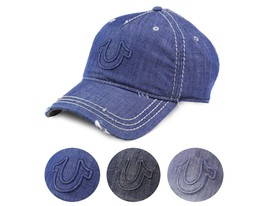 True Religion Men's Vintage Distressed Cotton Horseshoe Trucker Hat Cap TR2095