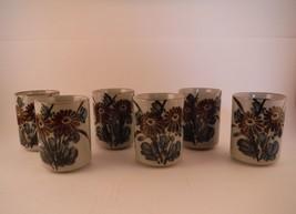 Vintage Set of 6 Otagiri Floral Stoneware Sake Saki Tea Juice Cups Flora... - $18.69