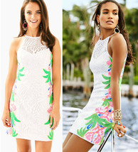 $278 Lilly Pulitzer Pearl Resort White Tropical Fruit Lace Shift Dress 0 - $157.50