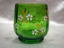 Vintage Hand-painted Green Glass Spoon Holder Spooner - $24.00