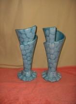 2 Vintage Royal Haeger Cone Cornucopia Vases Aqua Honeycomb Pattern R456 RARE - $173.25