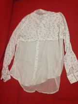 Abercrombie Kids Girl Shirt  Sz 16 Chiffon Flannel Butterfly Print Off White New image 3