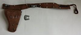 Vintage Wild Bill Hickok Leather Gun Belt Holster Cowboy Toy Western Lawman - $37.50