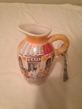 """MUDPIE PITCHER--WITH SPOON--CAFE--WINE--WAITER--6"""" TALL--EUC - $26.92"""