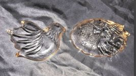 Glass Candy Dish with Gold Trim AA18 - 1176 Pair of Vintage image 4