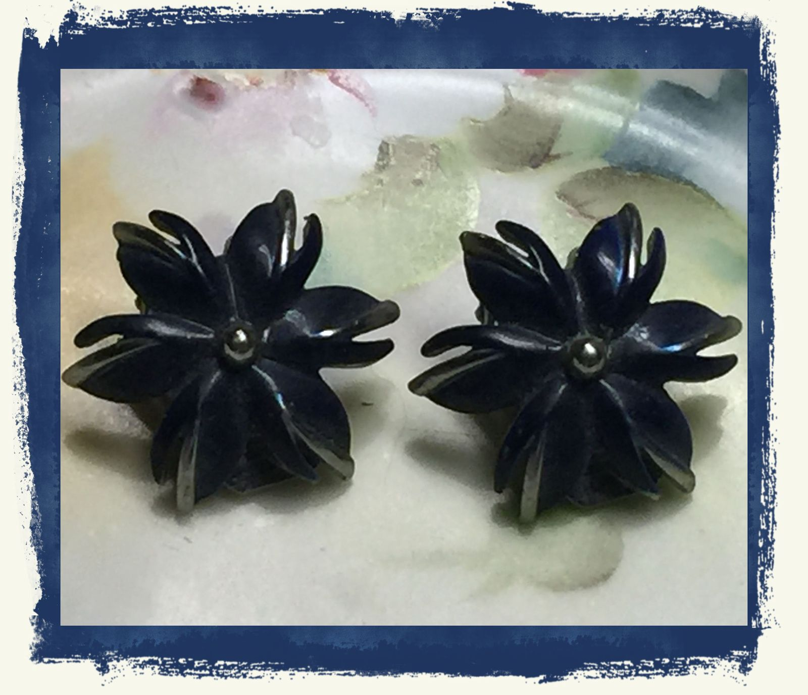 "VTG 40s Blue Enamel Silvertone Metal Flower Floral Clip On Earrings 7/8""~EVC"