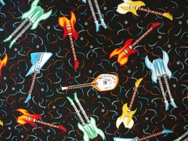 1/2yd music/colorful electric guitars/Rock Hero black quilt fabric-free shipping image 5