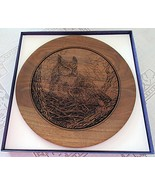 Ever Watchful Great Horned Owl Collector Plate Laser Engraved Black Walnut - $29.99