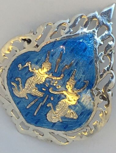 Large Vintage Sterling Silver Siam Nielloware Brooch